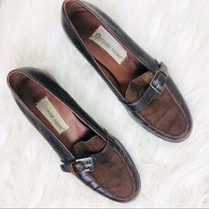 Etienne Aigner brown leather suede loafers Size 8